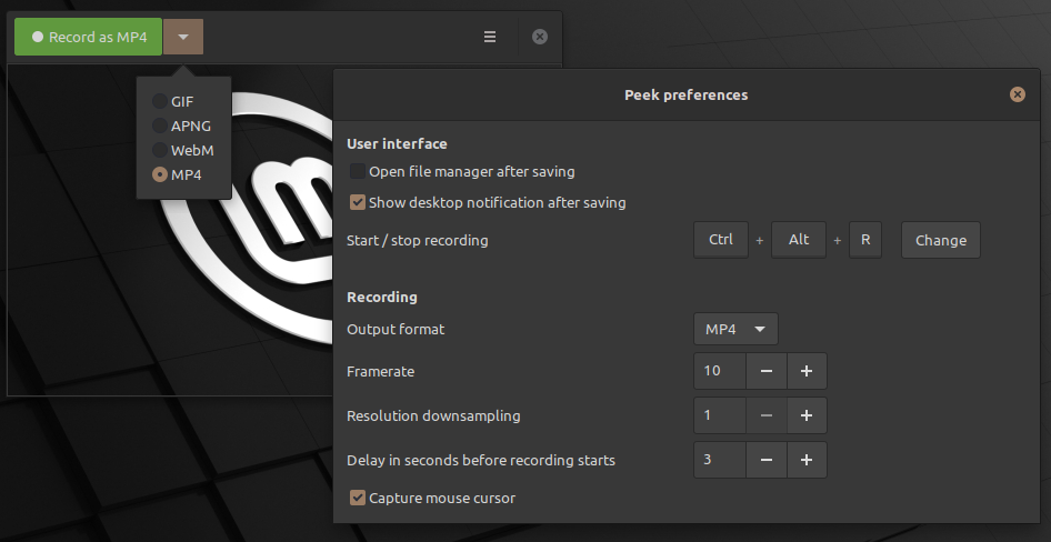Record video from the screen in Linux Mint