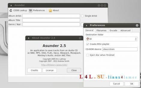 Asunder CD Ripper in Linux Mint