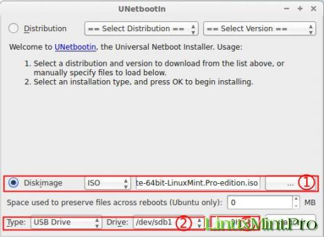 UNetbootin on Linux Mint