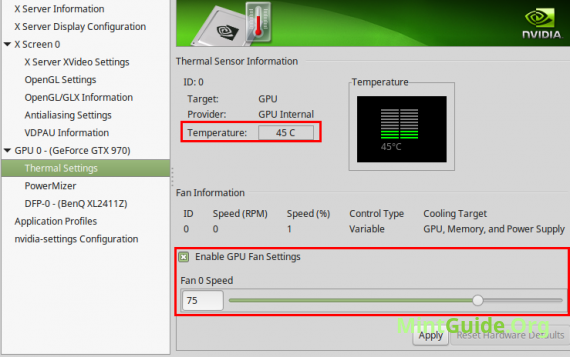 Overclocking the Nvidia graphics card on Linux Mint