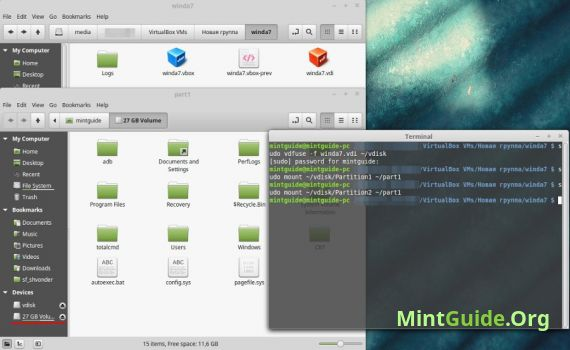 How to mount a VirtualBox VDI image file in Linux mint?