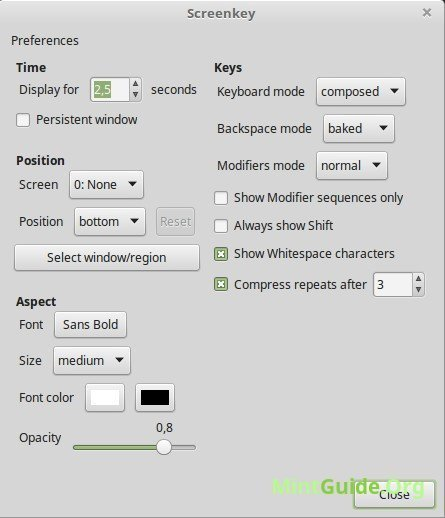 Screenkey - a screencast tool to display your keys