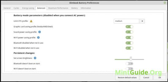 Slimbook battery — tool to save battery power
